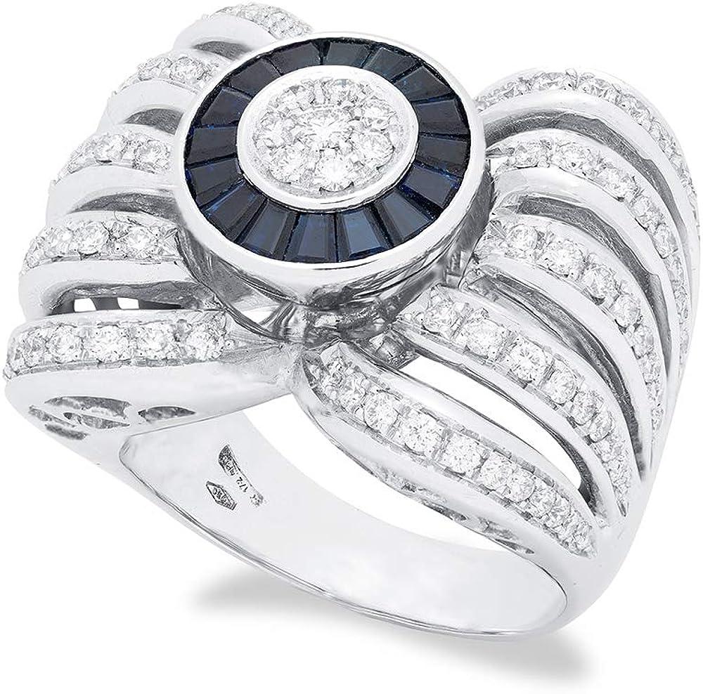 B.&c.gioielli anello donna in oro bianco  diamanti ,  zaffiri e perla da 15,00 ct an13