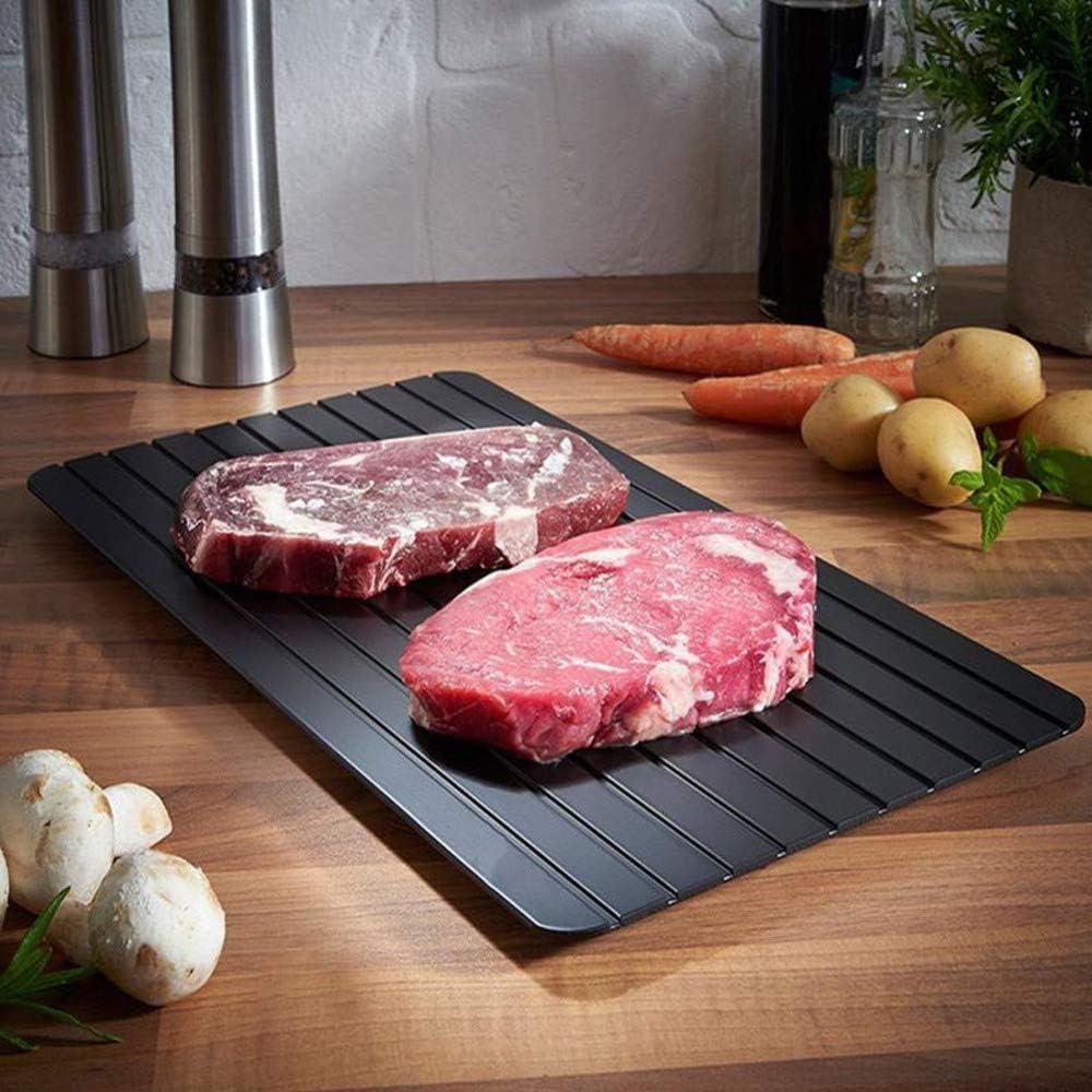 Safe Kitchen Gadget Fish Mariscos Frozen Carne Alimentos Descongelaci/ón R/ápida Descongelaci/ón Bloques de Picar Tabla de Descongelaci/ón R/ápida Placa de Descongelaci/ón 23 x 16,5 x 0,2 cm