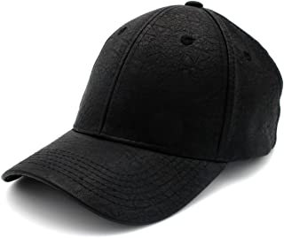Top Level PU Leather Plain Baseball Cap - Unisex Hat for Men & Women - Adjustable