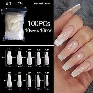 100pcs/Bag False Coffin Nails Ballerina Nails Flat Shape Nail Art Tips Natural Clear Full Cover Manicure Nail Tips (Color : 100pcs GCNatural)