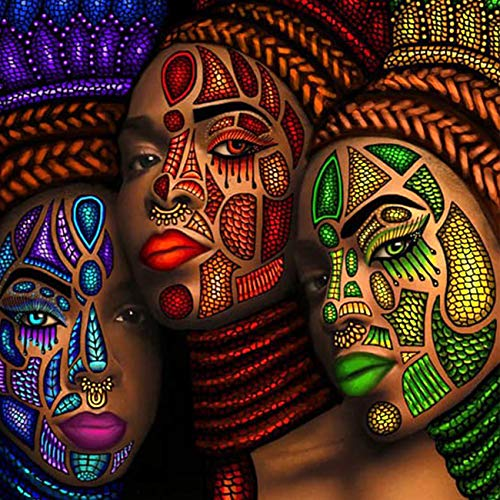 SKRYUIE 5D Full Drill Diamond Painting Colorful African Woman by Number Kits, Paint with Diamonds Arts Embroidery DIY Craft Set Arts Decorations (12x12 inch)