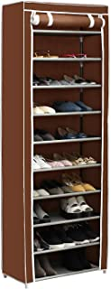 Home-Like 10-Tier Shoe Rack with Dustproof Cover 30 Pair Shoe Organizer Shoe Rack Tower Zippered Storage Shoe Cabinet in Black Ideal for Hallway Corridor L24.02''xW12.2''xH67.72'' (Brown)