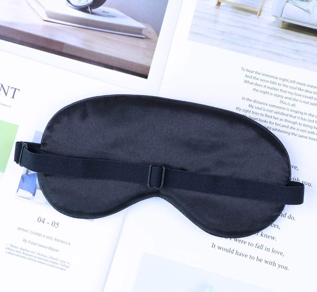 Noir Masque occultant Masque pour les yeux pour dormir en soie