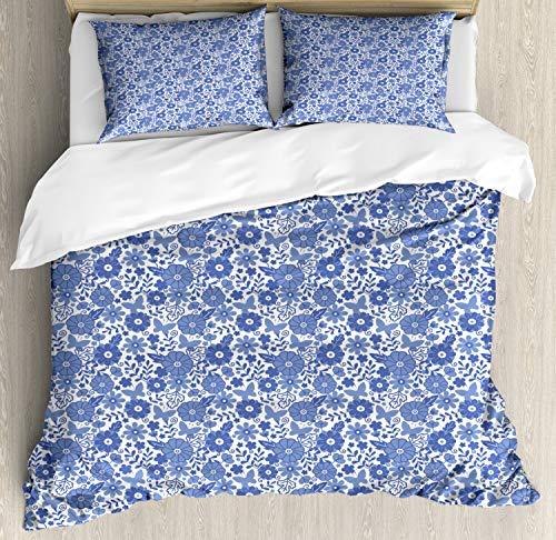 ABAKUHAUS Nederlands Dekbedovertrekset, Delft Style Doodle Bloemen, Decoratieve 3-delige Bedset met 2 Sierslopen, 200 cm x 200 cm, Violet Blue and White
