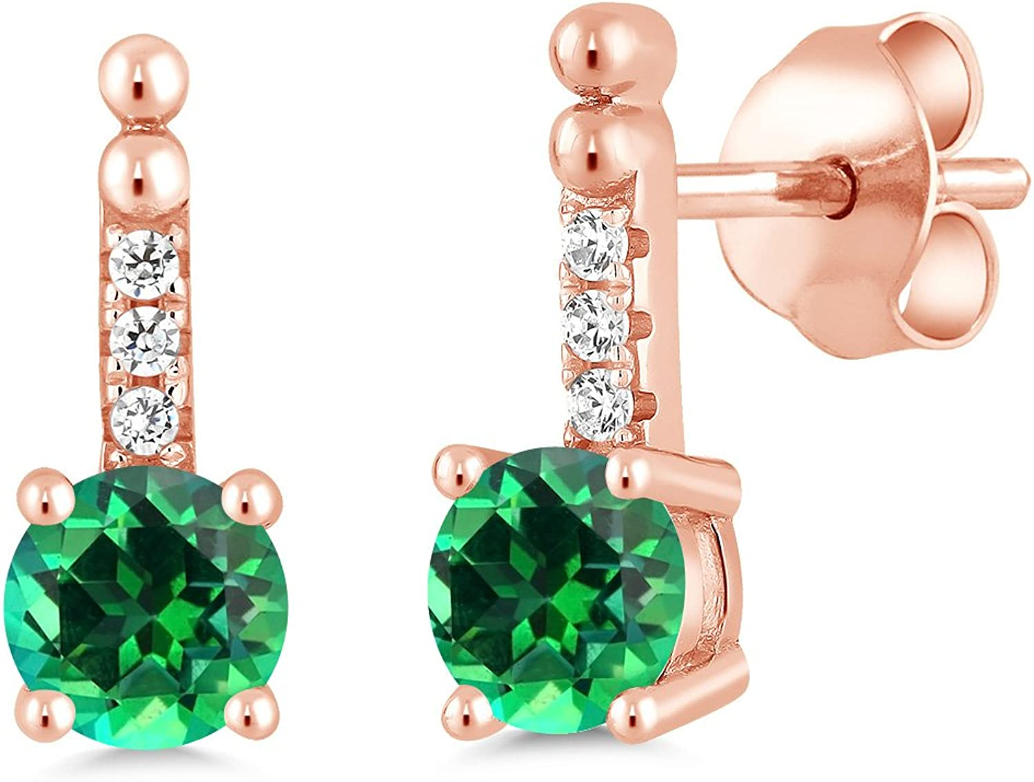 1.36 Ct 925 pink gold Plated Silver Earrings Natural Topaz Cut by Swarovski