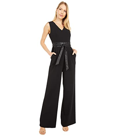 Calvin Klein V-Neck Jumpsuit with Faux Leather Waist and Belt (Black) Women