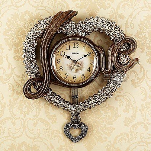 cleck Reloj de pared para salón, moderno, romántico, colgante, 16 cm, color gris plateado