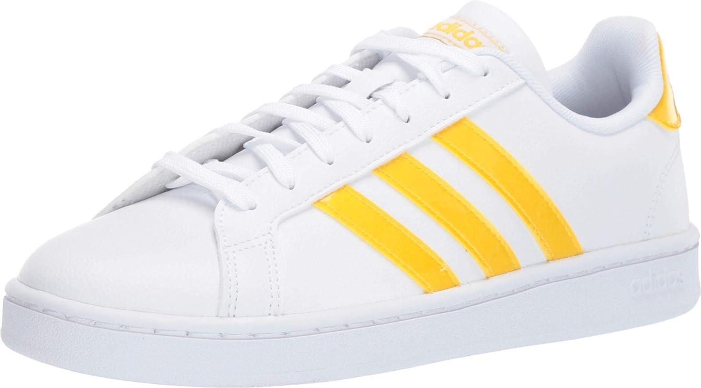adidas Women's Grand Court White/Bold Gold/Light Granite Sneaker 8 M US