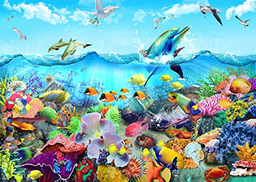 HUADADA 1000 Pieces Jigsaw Puzzles for Adults Ocean World Sea Coral Dolphins Fun Jigsaw Puzzles for Adults 1000 DIY Toys (27.6
