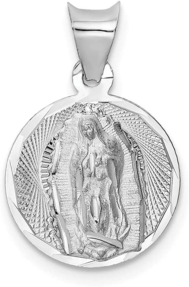 14k White Gold Selling rankings Our Lady Of Time sale Charm Pendant Necklac Guadalupe Round