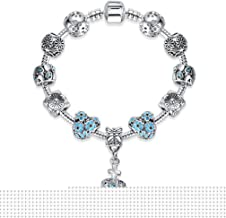 YHDBH Royal Crown 925 Unique Silver Charm Bracelet With CZ Crystal Beads Bracelets Women Jewelry Accessories
