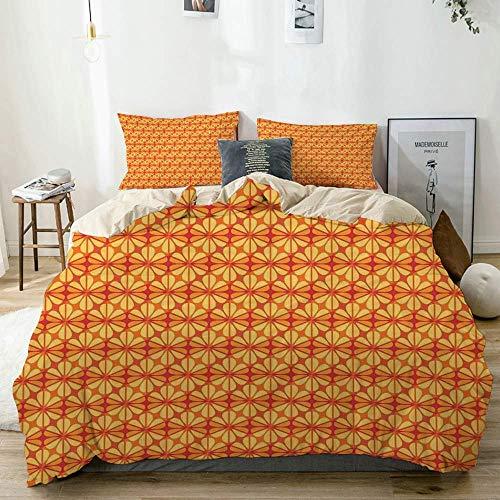 Juego de Funda nórdica Beige, Naranja Estampado de Mosaico Moderno Floral, Decorativo Juego de Cama de 3 Piezas con 2 Fundas de Almohada Fácil Cuidado Antialérgico Suave Suave