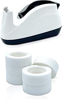 Empire Tape Dispenser with 6 Tape Rolls 33m each, Desk Tape Cutter, 1 Inch Core Invisible Tape, Non-Slip Base, Magic Tape ...