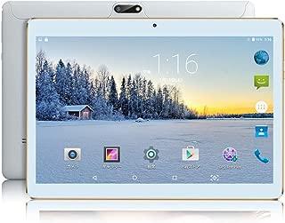 10インチ Android タブレット SIMカードスロット付き ‐ YELLYOUTH 10.1インチ クアッドコア 2GB RAM 32GB ROM 3G GSM 通話 タブレット Wifi GPS Bluetooth デュアルカメラ - 白