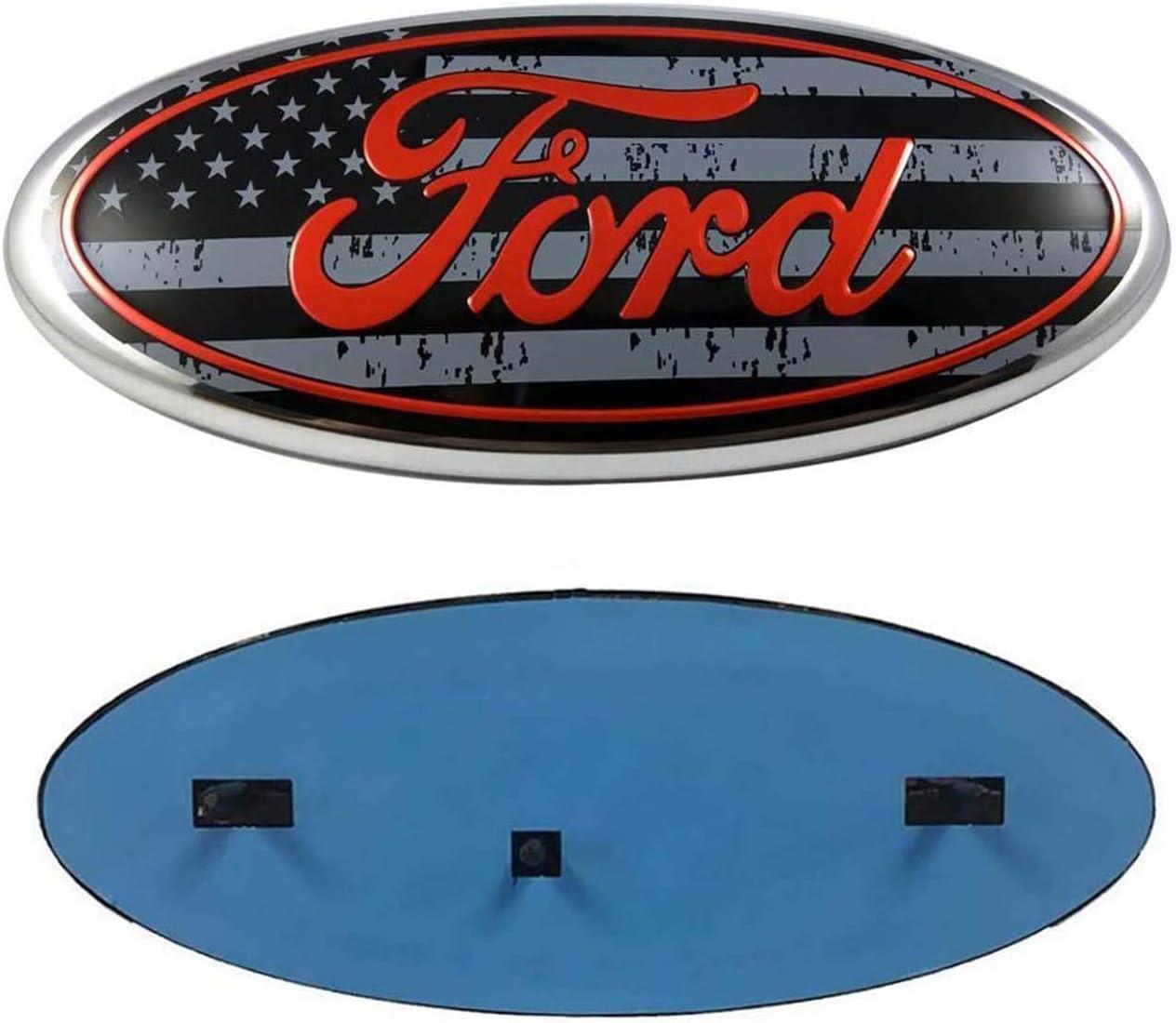 black silver quan zi Dark Blue Decal Badge Nameplate Fits for 04-14 F250 F350 11-16 Explorer 06-11 Ranger 11-14 Edge Oval 9X3.5 2004-2014 F150 Front Grille Tailgate Emblem