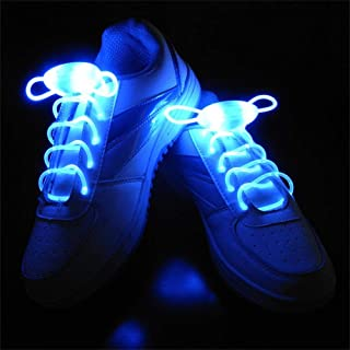 Suncentech Luminous Shoelaces 2 Pairs Switchable LED Light Up Shoestring Glowing Shoe Laces, Novelty Party Dress Decor (Blue)