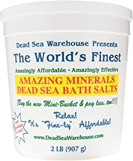 Dead Sea Warehouse - Amazing Minerals Dead Sea Bath Salts, Temporary Relief from Dry Itchy Skin, Aches & Pains, Exfoliates & Moisturizes, 100% Full Mineral (2 Pounds)