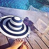 Sqklv Sombra de protección solar para mujer grande con lazo, sombrero de paja a rayas, disquete, plegable, enrollable, sombrero de playa, azul, United States