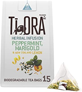 Ti Ora Tee, Pfefferminztee mit Ringelblume und Zitrone, 4er Pack 15 Pyramiden - Teebeutel Kräutertee