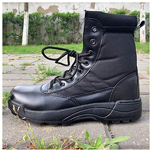 GJHYJK Outdoor Tactical Boots Army Trekking Boot Desert Anti-slip Combat Boots High-top Leather Side Zipper Lace Up Lightweight Shoes,Black-40