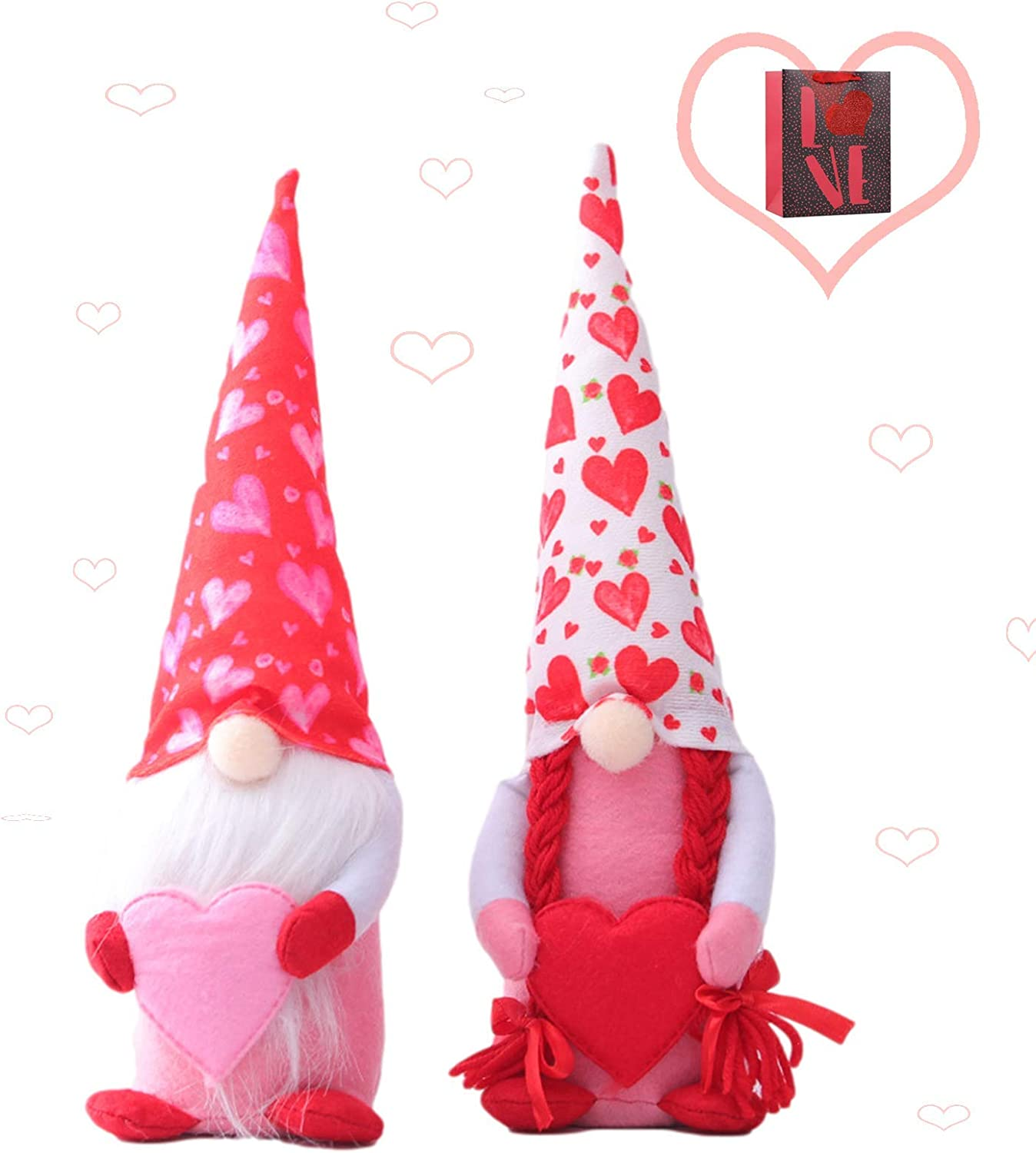 2 Pcs Birthday Gnomes Decoration, 2021 Handmade Faceless Doll Rudolph Plush Toy, Mr & Mrs Swedish Tomte Stuffed Gnomes Plush Doll Ornaments, Home Table Gnomes Decor, Mother's Day Gift(Heart 02)
