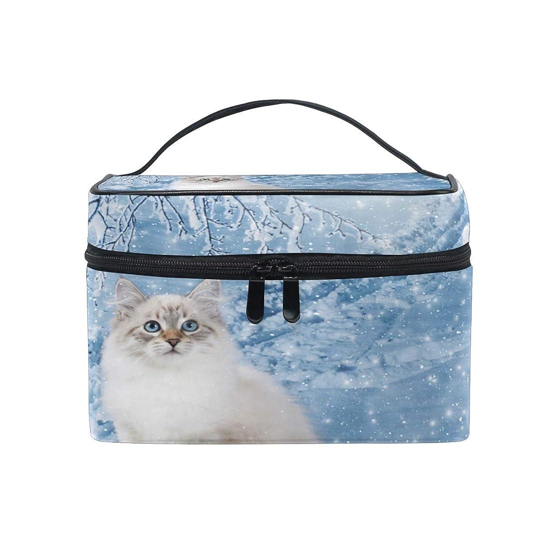 ストリップ童謡報酬のUOOYA ねこ 猫柄 おしゃれ メイクボックス 大容量 持ち運び メイクポーチ 人気 小物入れ 通学 通勤 旅行用 プレゼント用