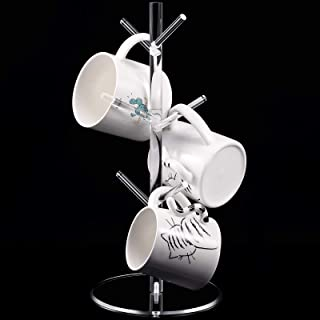 14 Inch Acrylic Coffee Mug Tree Clear Mug Holder Tree Transparent Coffee Mug Rack Cup Holders for Counter with 6 Hooks Rem...