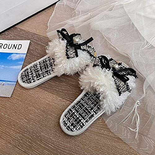 ZSW Zapatillas de casa de Felpa para Mujer Bonitos Zapatos Planos cálidos con Nudo de Mariposa para niñas Resbalón en otoño Invierno Diapositivas peludas para Interior de mujer-39 UE_Negro