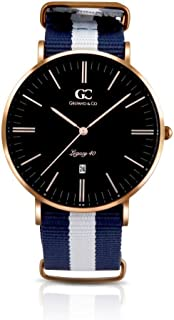 Gelfand & Co. Unisex Minimalist Watch Blue/White NATO Strap Liberty 40mm Silver with Black Dial