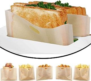 DECARETA 6 pcs Sac pour Grille-pain Réutilisables Sacs à Toasts Résistance à Haute Température Sac de Cuisson pour Grille-...