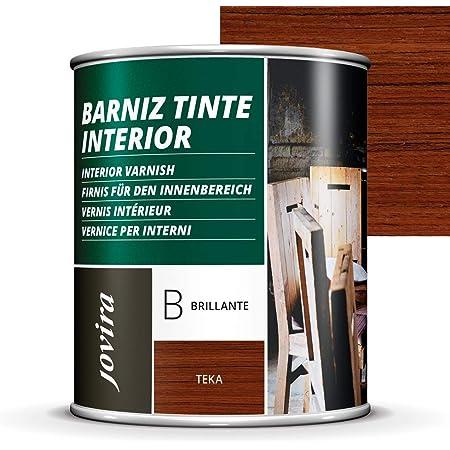 BARNIZ TINTE INTERIOR BRILLANTE, (6 COLORES), Barniz madera, Protege la madera, Decora y embellece la madera. (750ML, TEKA)