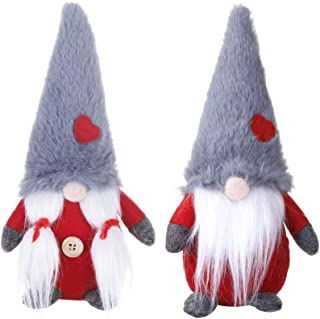 HMASYO 2 Pcs Handmade Couple Swedish Gnome Plush,Scandinavian Tomte,Santa Nisse,Nordic Plush Elf Toy,Christmas Table Ornament,Home Christmas Decorations,8 Inch (Red)
