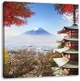 Pixxprint Japanischer Tempel im Herbst, Format: 60x60 auf