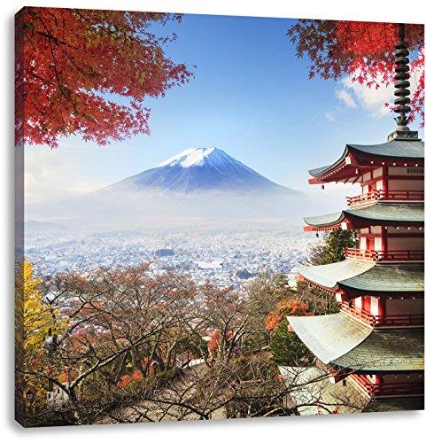 Pixxprint Japanischer Tempel im Herbst, Format: 70x70 auf Leinwand