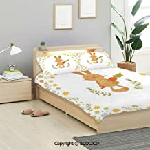 SCOCICI Funny Bedding Sets 3 Pieces(1 Duvet Cover 2 Pillow Shams) Cute Summer Illustration with Smiling Little Rabbit Carrots and Flowers Happy Bunny Duvet Cover Sets for Kids/Twin/Single All Seasons