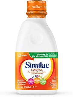Similac Sensitive Infant Formula with Iron, For Fussiness and Gas, Baby Formula, Ready-to-Feed, 1 qt