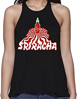 Ripple Junction Sriracha Hot Sauce Junior's Warped Bottle Perspective Light Weight Flared Tank Top