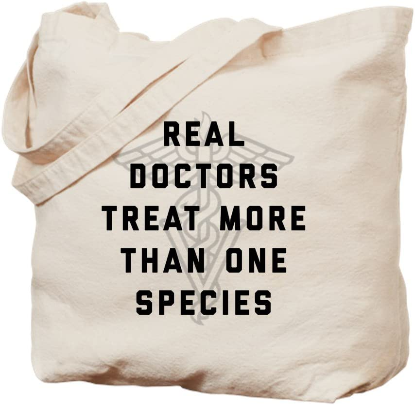 CafePress Real Doctors Treat More Than One Species Tote Bag Natural Canvas Tote Bag, Reusable Shopping Bag