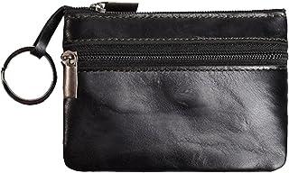 Coin Purse Pouch Genuine Leather Zipper Change Holder Slim Wallet For Men Women (Black)