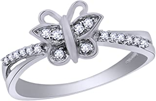 Round Cut Natural Diamond Accent Butterfly Fashion Ring in 10K Solid Gold
