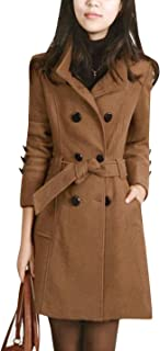 Tanming Womens Winter Casual Lapel Wool Blend Double Breasted Pea Coat Trench Coat