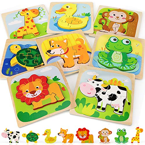 TOY Life Wooden Puzzles for Toddlers - Animal Shape Montessori Toy - Jigsaw Puzzles with 8 Animal Shape - Early Learning Preschool Educational Toys Gifts for 1 2 3 Years Old Toddlers