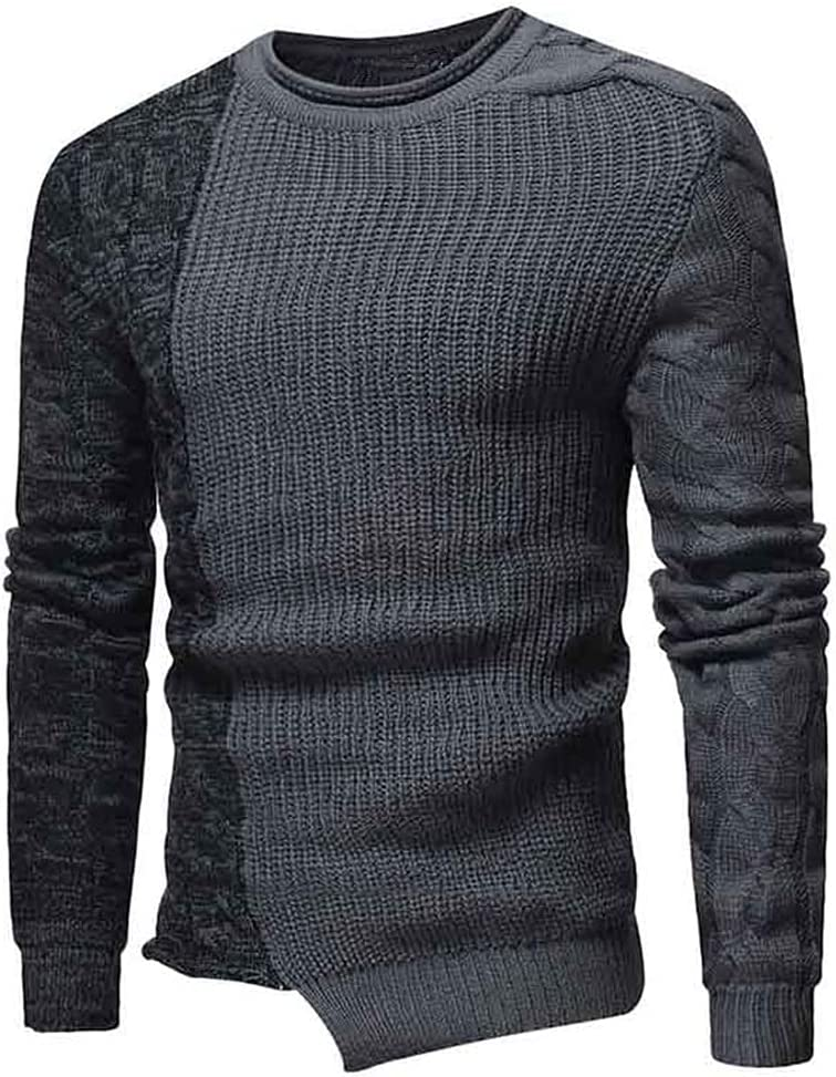 LYYQH Color Matching Irregular Sweater Men Casual O Neck Sweaters Mens Personality Knitted Pullover Men Clothes (Color : Black, Size : XL Code)