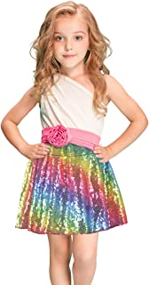 Sequin Skirts for Girls Rainbow Glitter Skirts Sparkly Fabric Skirts for Unicorn Party, Halloween Party, Ballarina Costumes