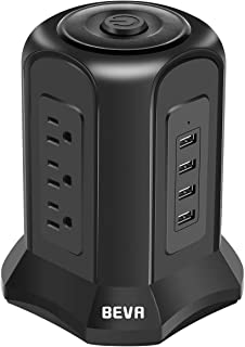 BEVA Power Strip Tower with 9 AC-Outlets and 4 USB Charging Ports Switch Control, Surge Protector Desktop Power Strip Charging Station 6 ft Extension Cable for Office and Home, Dorm Room Black