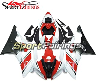 Sportbikefairings Red White Full Injection ABS Plastic Motorcycle Fairing Kit For Yamaha YZF600 R6 2008-2013 2014 2015 2016 Body Frames