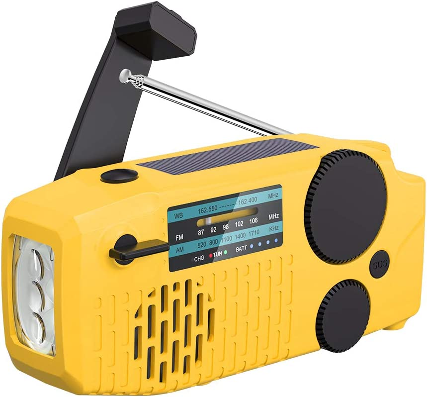 【2021 Newest Model】 Tiemahun Portable Solar Emergency Hand Crank AM FM NOAA Weather Radio for Home Outdoor with LED Flashlight, 2000mAh Power Bank USB Charger, SOS Alarm,Battery Display (Yellow)