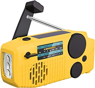 【2021 Newest Model】 Tiemahun Portable Solar Emergency Hand Crank AM FM NOAA Weather Radio for Home Outdoor with LED Flashl...