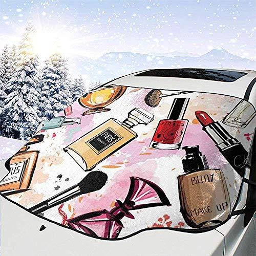 Night-Shop Modèle de thème cosmétique et de Maquillage avec Pinceau de Vernis à Ongles de Rouge à lèvres de Parfum dans la Couverture de Pare-Brise Avant de Voiture de Style Moderne
