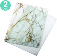 Tempered Glass Cutting Board Set of 2, Long Lasting Clear Glass and Grey White Marble Kitchen Glass Cutting Board Modern Decorative, Non-Scratch, Heat Resistant, Shatter Resistant, 11.8 x 15.8 Inch